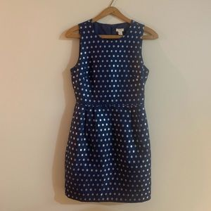 J CREW Blue and Silver Polka Dot Sheath Dress